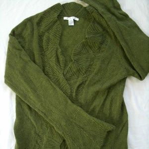 Cabi Cardigan Mohair Scalloped Sweater Green 697 M